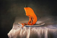 Slice pumpkin still life. Slice the pumpkin, still life, picture perfect for decorating your home or office Royalty Free Stock Photos