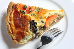 Slice of quiche from above royalty free stock photography