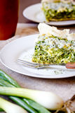 Slice Of Quiche with spinach Royalty Free Stock Image