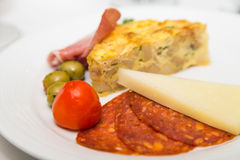 Slice of Quicke and Antipasti Royalty Free Stock Image