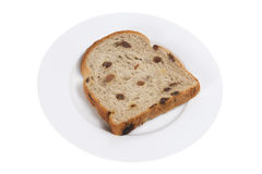 Slice of Raisin Bread on Plate Royalty Free Stock Photography