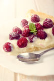 Slice of raspberries tart Royalty Free Stock Photo