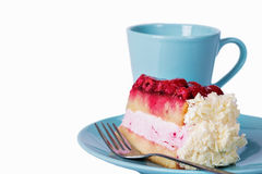 Slice of raspberry cake and cup of coffee Royalty Free Stock Photo