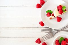 Raspberry cheesecake side border on a bright background Royalty Free Stock Image