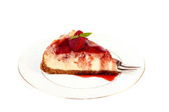 Slice of raspberry cheesecake Royalty Free Stock Images