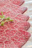 Slice raw meat. Raw  meat for BBQ,japanese food Stock Image