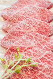 Slice raw meat. Raw  meat for BBQ,japanese food Royalty Free Stock Photography