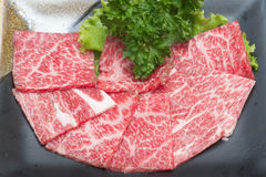 Slice raw meat. Raw  meat for BBQ,japanese food Stock Photo