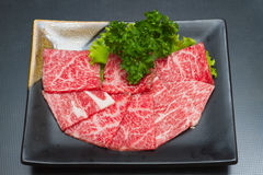 Slice raw meat. Raw  meat for BBQ,japanese food Royalty Free Stock Photo