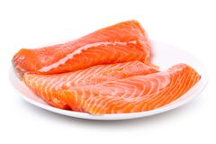 Slice of raw salmon Royalty Free Stock Image