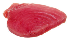 Slice of raw tuna fish meat isolated on white Stock Photo