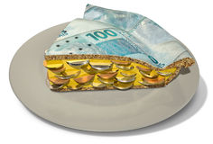 Slice Of Real Money Pie Stock Images
