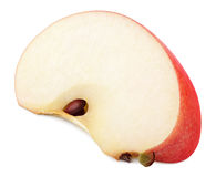 Slice of red apple fruit isolated on white. Background lying on side with shadow. Red apple wedge with clipping path Stock Photography