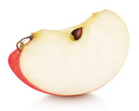 Slice of red apple fruit isolated on white. Background with shadow. Red apple wedge with seeds Stock Images