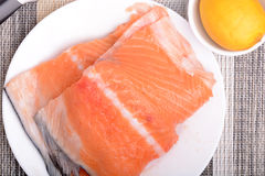 Slice of red fish salmon Royalty Free Stock Photos