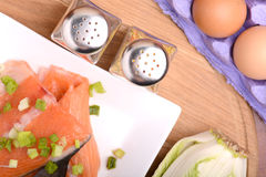Slice of red fish salmon with eggs Stock Images