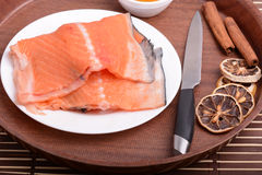 Slice of red fish salmon Stock Photo