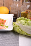 Slice of red fish salmon and fresh cabbage Stock Images