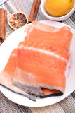 Slice of red fish salmon with fruits Stock Image