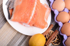 Slice of red fish salmon with fruits Royalty Free Stock Photography
