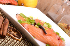 Slice of red fish salmon with fruits Royalty Free Stock Photos