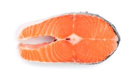 Slice of red fish salmon isolated on white background. Top view.  Royalty Free Stock Photography