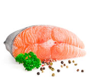 Slice of red fish salmon. Isolated on white surface Stock Images