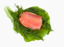 Slice of red fish with vegetables Stock Photo