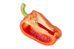 Slice red pepper. On white background Stock Photos