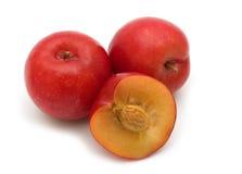 Slice red plum. On white background Stock Photo