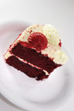 Slice of red velvet cake close up Royalty Free Stock Image