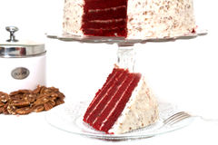 Slice of Red Velvet Cake Isolated stock images