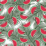 Slice of red watermelon on a green palm leaves background patter. N summer exotic tropical fruit hawaii sweet seamless vector stock illustration
