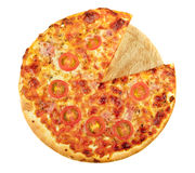 Slice removed pizza Stock Photography
