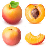 Slice ripe apricot set isolated on a white background Royalty Free Stock Photography