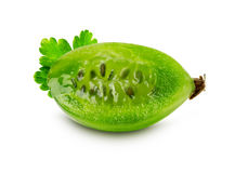 Slice of ripe juicy gooseberry on the white background Stock Photography