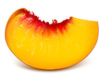 Slice of ripe peach vector illustration