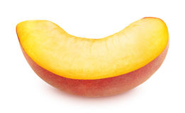Slice of Ripe Peach Isolated on White Background Royalty Free Stock Photos
