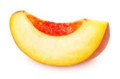 Slice of Ripe Peach Isolated on White Background Stock Image