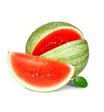 Slice of ripe watermelon with water drops and green leaf Stock Images