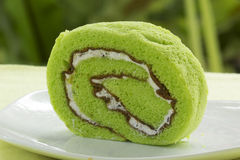 Slice Roll pandan flavored cake Royalty Free Stock Image