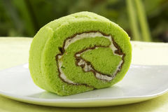 Slice Roll pandan flavored cake Royalty Free Stock Photography