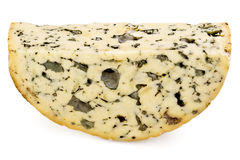 Slice of Roquefort cheese Stock Photos