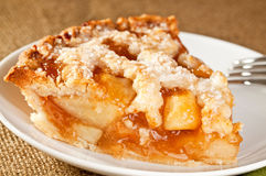 Slice of rustic apple pie Stock Photo