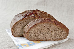 Slice of rye bread with seeds. Close up Royalty Free Stock Images