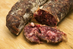 Slice of salami. Slice of home made salami Stock Photo
