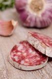 Slice of salami sausage Stock Images