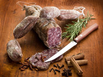 Slice salami, susage and spice Royalty Free Stock Images
