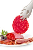 Slice of salamii and meat products Stock Image