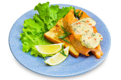 Slice of salmon on toast Stock Photo